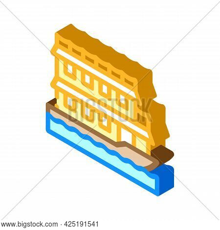 Floating Boat House Isometric Icon Vector. Floating Boat House Sign. Isolated Symbol Illustration