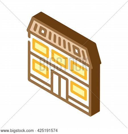 Cottage House Isometric Icon Vector. Cottage House Sign. Isolated Symbol Illustration
