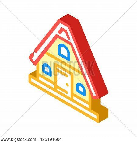 Mountain House Isometric Icon Vector. Mountain House Sign. Isolated Symbol Illustration