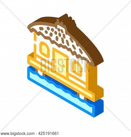 Bungalow On Water House Isometric Icon Vector. Bungalow On Water House Sign. Isolated Symbol Illustr
