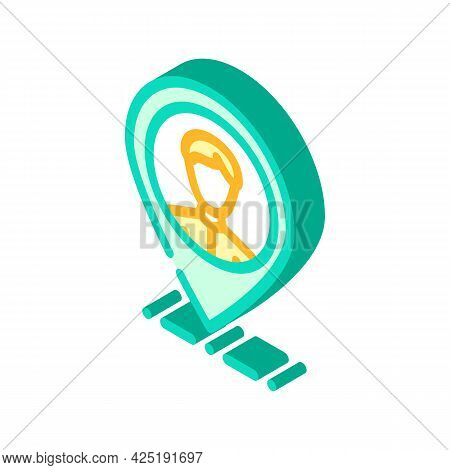 Client Geo Tag Kyc Isometric Icon Vector. Client Geo Tag Kyc Sign. Isolated Symbol Illustration