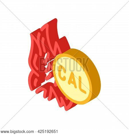 Burning Calories Isometric Icon Vector. Burning Calories Sign. Isolated Symbol Illustration