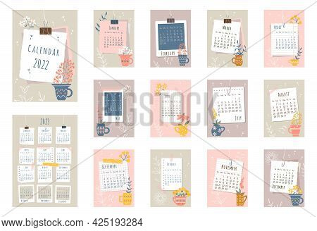2022 Calendar. Cover, Set Of 12 Months Pages And Page With 2023 Calendar. Pieces Of Papers, Photo Fr