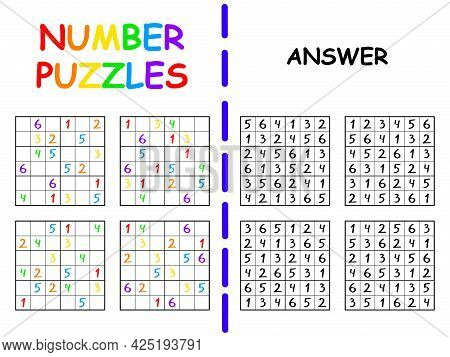 Number Puzzles Childish Set Colorful Vector Illustration. Educational Number Games Sudoku Six By Six