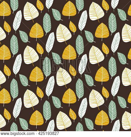 Simple Leaf Fall Seamless Pattern Vector. Floral Pattern With Leaves By White, Goldenrod, Jade And D