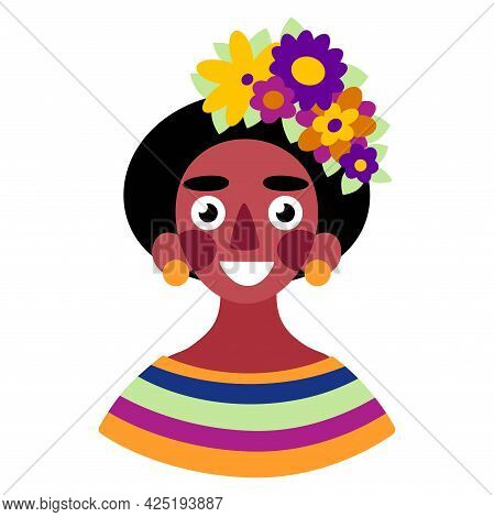 Beautiful African Woman With Flowers In Hair White Isolated Vector Illustration. Bright Happy Dark-s