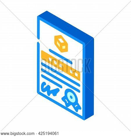 Patent Document For Production Isometric Icon Vector. Patent Document For Production Sign. Isolated