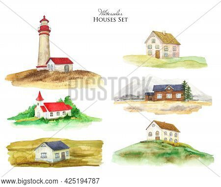 Watercolor Wooden Cottage, Rural Houses Set. Mountain House Illustration