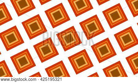 Mosaic Blinking Background With The Field Of Orange Squares Getting Closer. Motion. Psychedelic Rhom