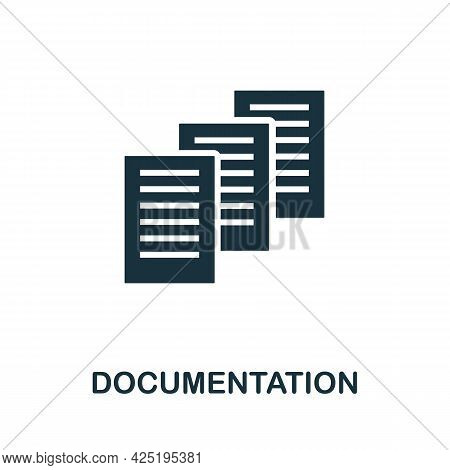 Documentation Icon. Simple Creative Element. Filled Monochrome Documentation Icon For Templates, Inf