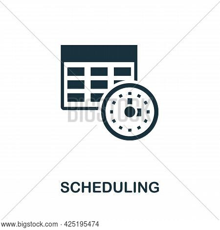 Scheduling Icon. Simple Creative Element. Filled Monochrome Scheduling Icon For Templates, Infograph