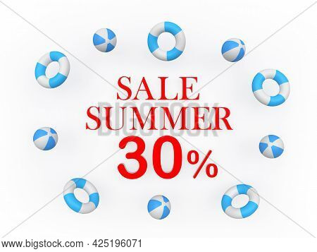 Banner With Text Summer Discounts Thirty Percent Surrounded By Beach Balls. 3d Illustration