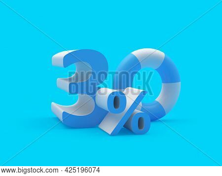 Discount Thirty Percent Off With Lifebuoy On Blue. 3d Illustration