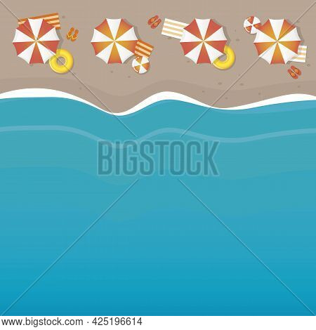 Summer Holiday On The Beach Parasol And Wave Background
