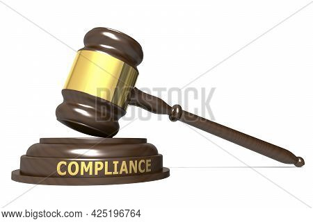 Wooden Judge Gavel With Compliance Word, 3d Rendering