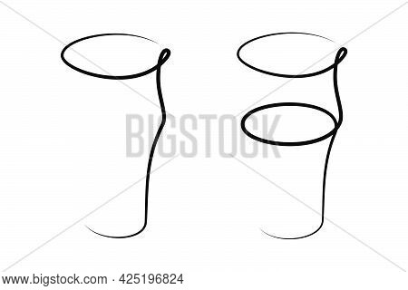 Beer Wineglass Empty And With A Beverage On White Background. Graphic Arts Sketch Design. Black One