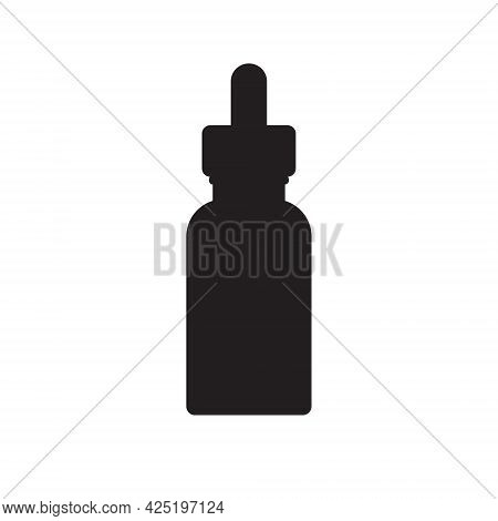 Vector Hand Drawn Oil Essence Bottle Silhouette Isolated On White Background