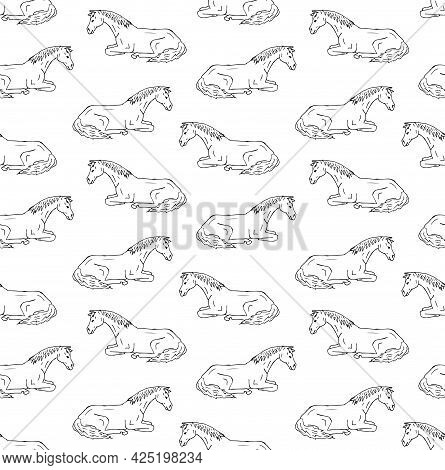 Vector Seamless Pattern Of Hand Drawn Doodle Sketch Laying Horse Isolated On White Background