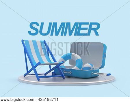 Beach Chaise Lounge With Travel Suitcase And Text Summer On A Stand On Blue. 3d Illustration