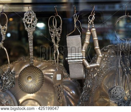 Beautiful Silver Antique Things In The Flea Market Display