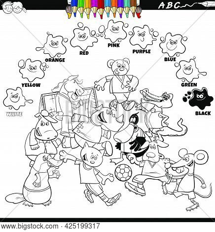 Black And White Educational Cartoon Illustration Of Basic Colors For Children With Animals Playing F