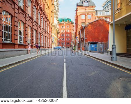 Moscow. Russia. June 26, 2021. A Wide-angle View Of A Side Street In The Center Of Moscow On A Sunny