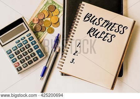Text Caption Presenting Business Rules. Business Showcase The Principles Which Determine The Corpora