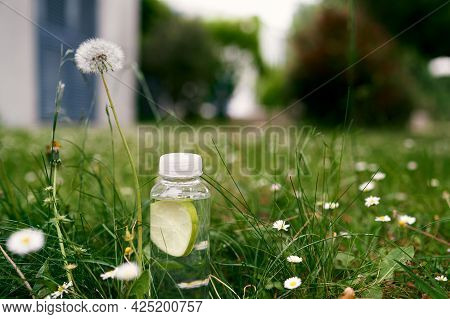 Bottle Of Water Stands On A Green Lawn Among Daisies And Dandelions