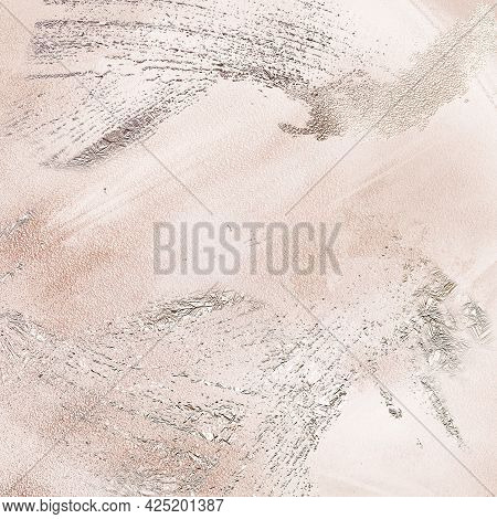 Delicate Beige Silk Design Abstract Painting Background With Silver Dust.