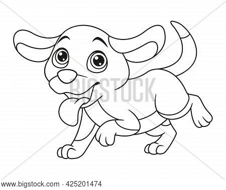 Running Dopey Dog With Hanging Tongue Coloring Page. Outline Cartoon Vector Illustration