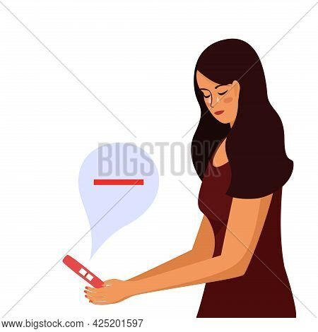 Young Beautiful Woman Looks At Negative Pregnancy Test. The Girl Stands Cries That She Is Not Pregna