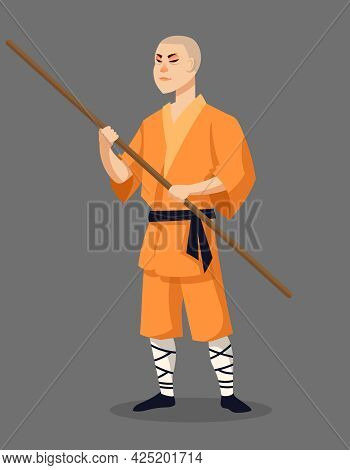 Shaolin Monk Holding Battle Stick. Male Character In Cartoon Style.