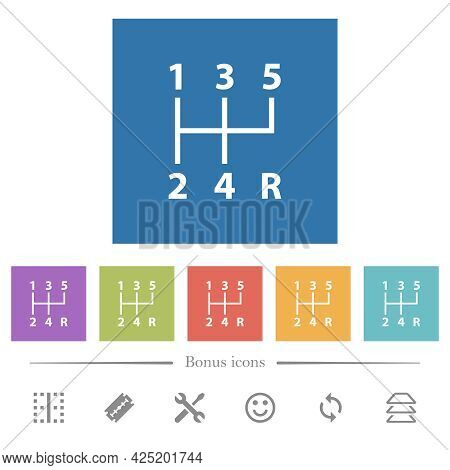 Five Speed Manual Gear Shift Flat White Icons In Square Backgrounds. 6 Bonus Icons Included.