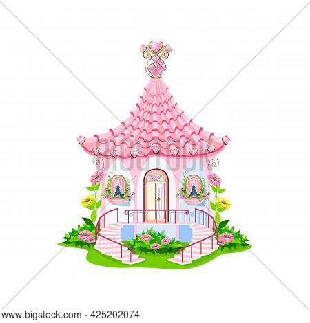 A Fairytale House With A Pink Roof, Spiral Staircases, Glass Door And Gemstone Hearts. A Small House