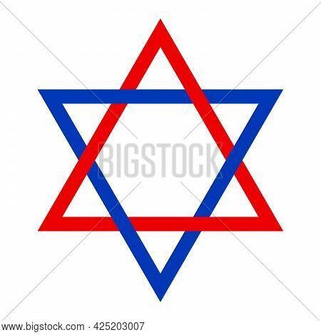 Red And Blue Seal Of Solomon. Attributed To King Solomon, From Which It Developed In Islamic And Jew