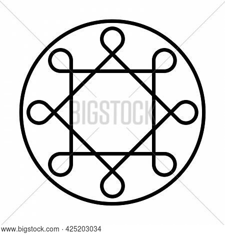 Ring Of Solomon. Two Overlapping Squares With Eight Looped Corners, Within A Circle Frame. Thousands
