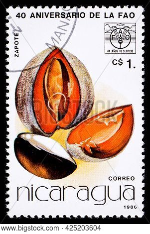 Nicaragua - Circa 1986: A Postage Stamp From Nicaragua Showing Fruit Zapote