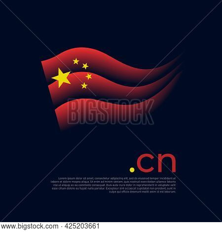 China Flag. Colored Stripes Of The Chinese Flag On A Dark Background. Vector Stylized Design Of Nati