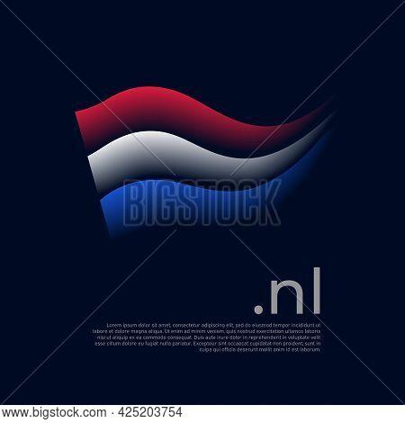 Netherlands Flag. Holland Flag Colors Stripes On Dark Background. Vector Stylized National Poster De