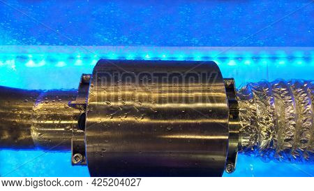 Electromagnetic Flowmeter Counter Under Water. Bubbling Water. Bubbles And Drops Fluid, Blue Backlig