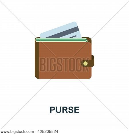 Purse Icon. Flat Sign Element From Credit Collection. Creative Purse Icon For Web Design, Templates,