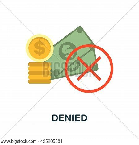 Denied Icon. Flat Sign Element From Credit Collection. Creative Denied Icon For Web Design, Template