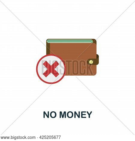 No Money Icon. Flat Sign Element From Credit Collection. Creative No Money Icon For Web Design, Temp
