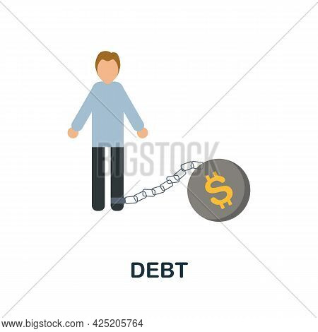 Debt Icon. Flat Sign Element From Credit Collection. Creative Debt Icon For Web Design, Templates, I