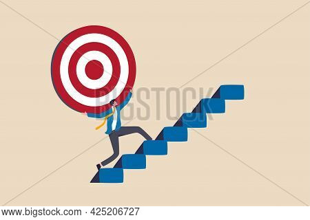 Effort And Ambition To Reach Goal Or Target, Challenge To Win Higher Target, Business Mission Or Car