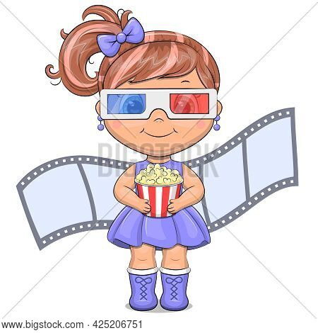 Cute Cartoon Girl In Dress And 3d Cinema Glasses Holds Popcorn. Vector Illustration On A White Backg