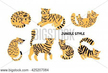 Yellow Black Cats. House Cat Look Like Tiger, Cartoon Isolated Wild Jungle Animals Vector Collection