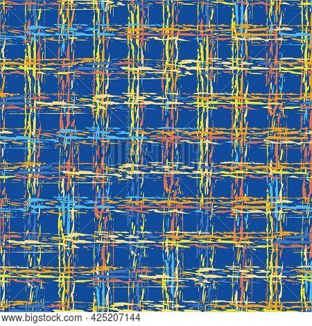 Abstract Vector Basket Weave Modern Seamless Pattern Background. Cobalt Blue Orange Yellow Burlap Gr