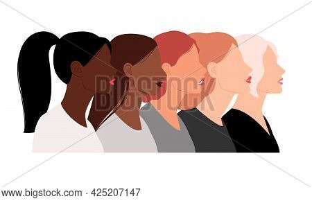 Heads Of Females With Different Hairstyles. Cartoon Avatars Of Various Color, Portrait Of Women, Vec