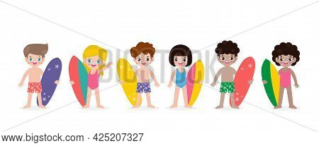 Summer Banner And Set Of Cute Surfer Children Character With Surfboard On Beach. Happy Young Surfer